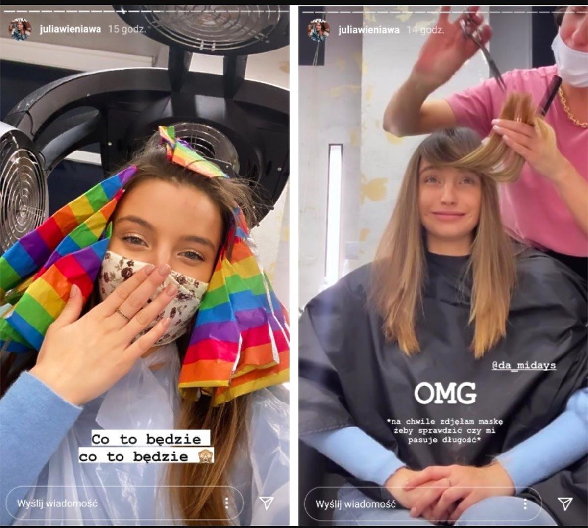 Julia Wieniawa u fryzjera - zmienia kolor włosów