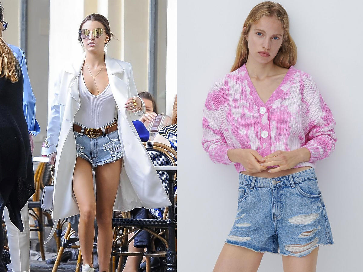 Julia Wieniawa w jeansowych poszarpanych szortach