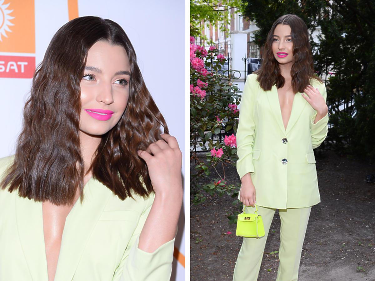 Julia Wieniawa w limonkowym garniturze