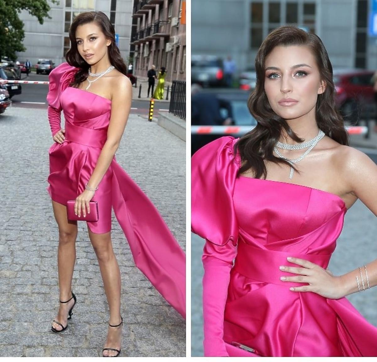 Julia Wieniawa w różowej sukni