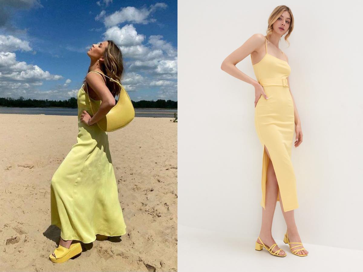Julia Wieniawa w żółtej sukience maxi, żółtych klapkach na plaży.