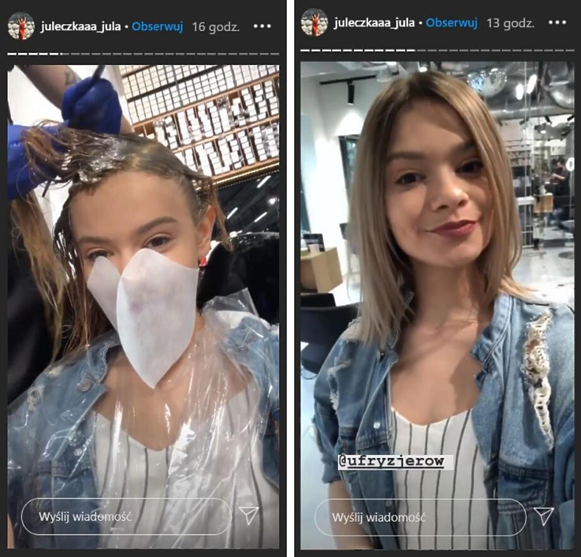Julia Wróblewska u fryzjera