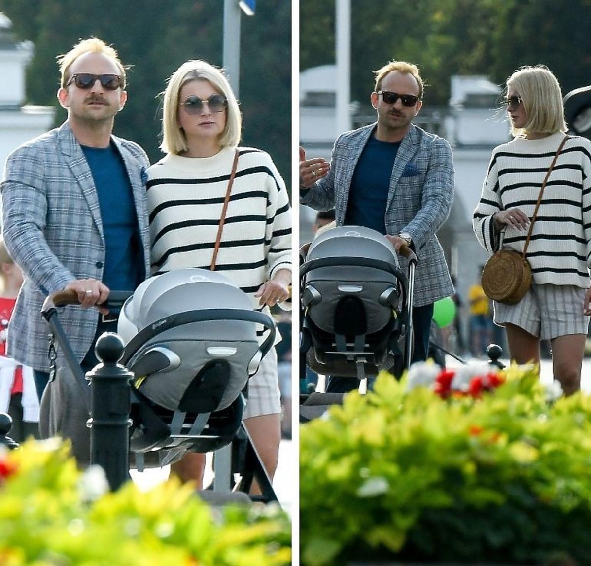 Justyna Nagłowska z synkiem i Borysem Szycem na spacerze