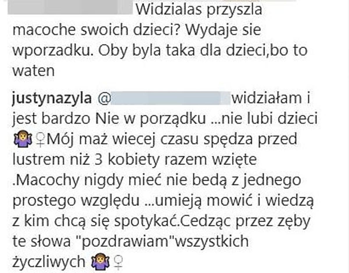 Justyna Żyła- komentarz na Instagramie