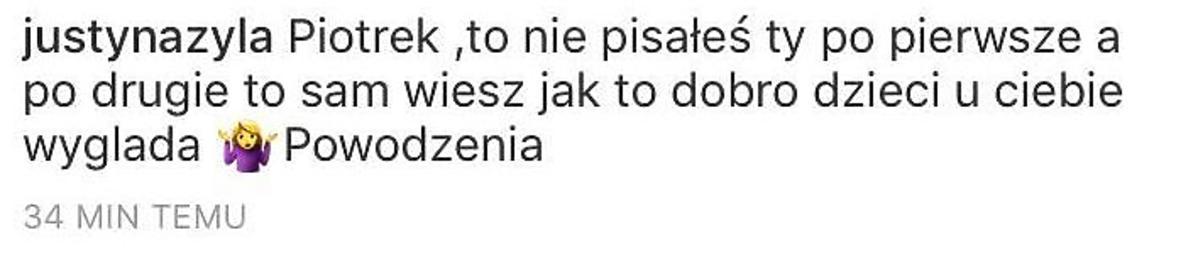 Justyna Żyła komentuje oświadczenie męża