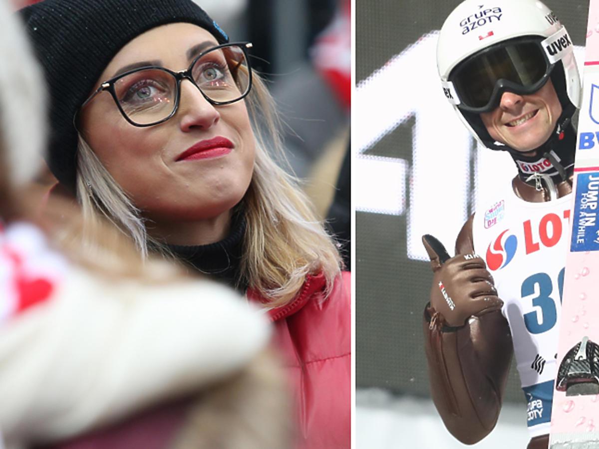Justyna Żyła na konkursie skoków narciarskich w Wiśle, w których startował Piotr Żyła