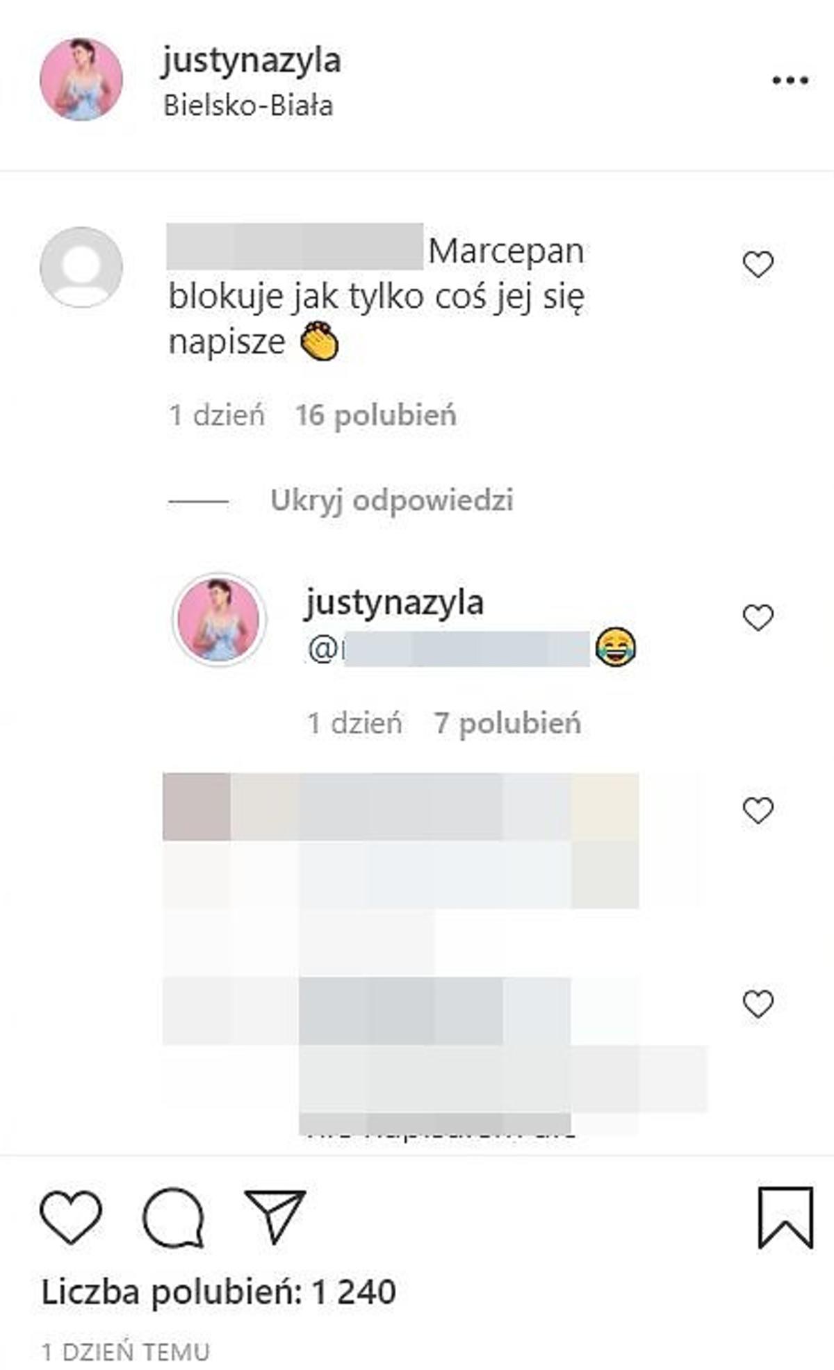 Justyna Żyła odpowiada na komentarz o Marcelinie Ziętek