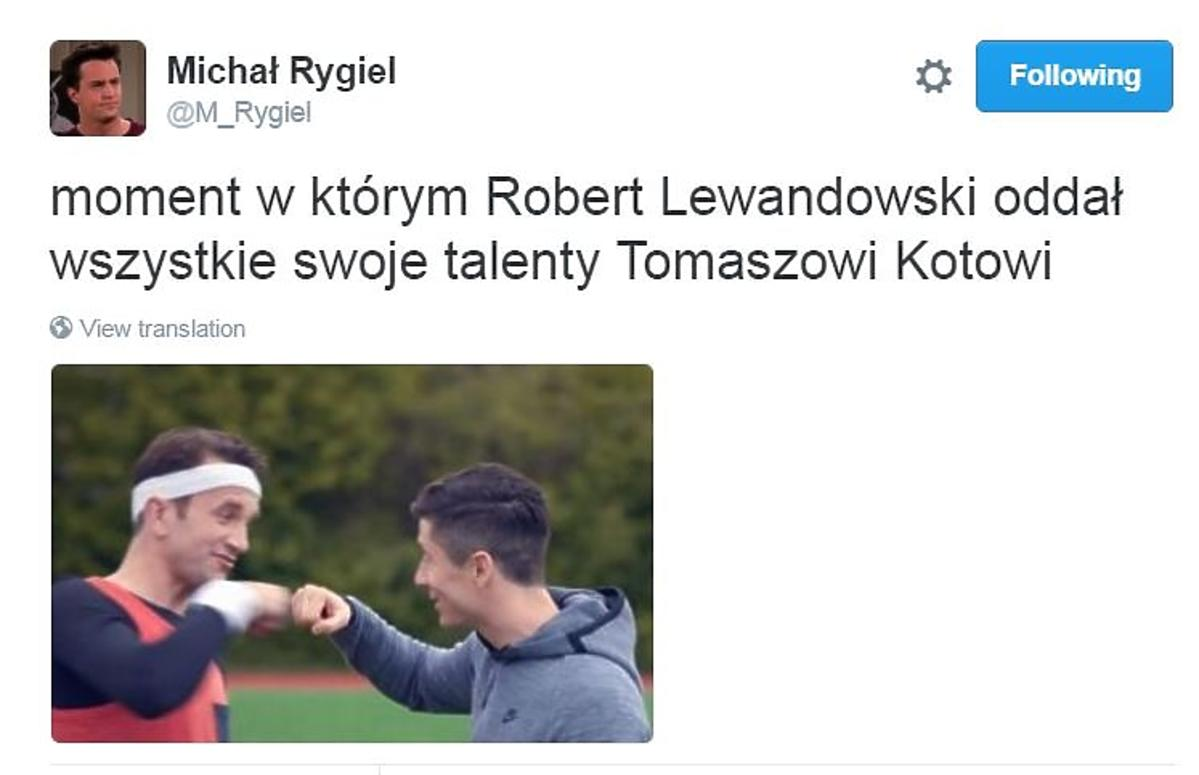 Kadr z reklamy Tomasz Kot Robert Lewandowski