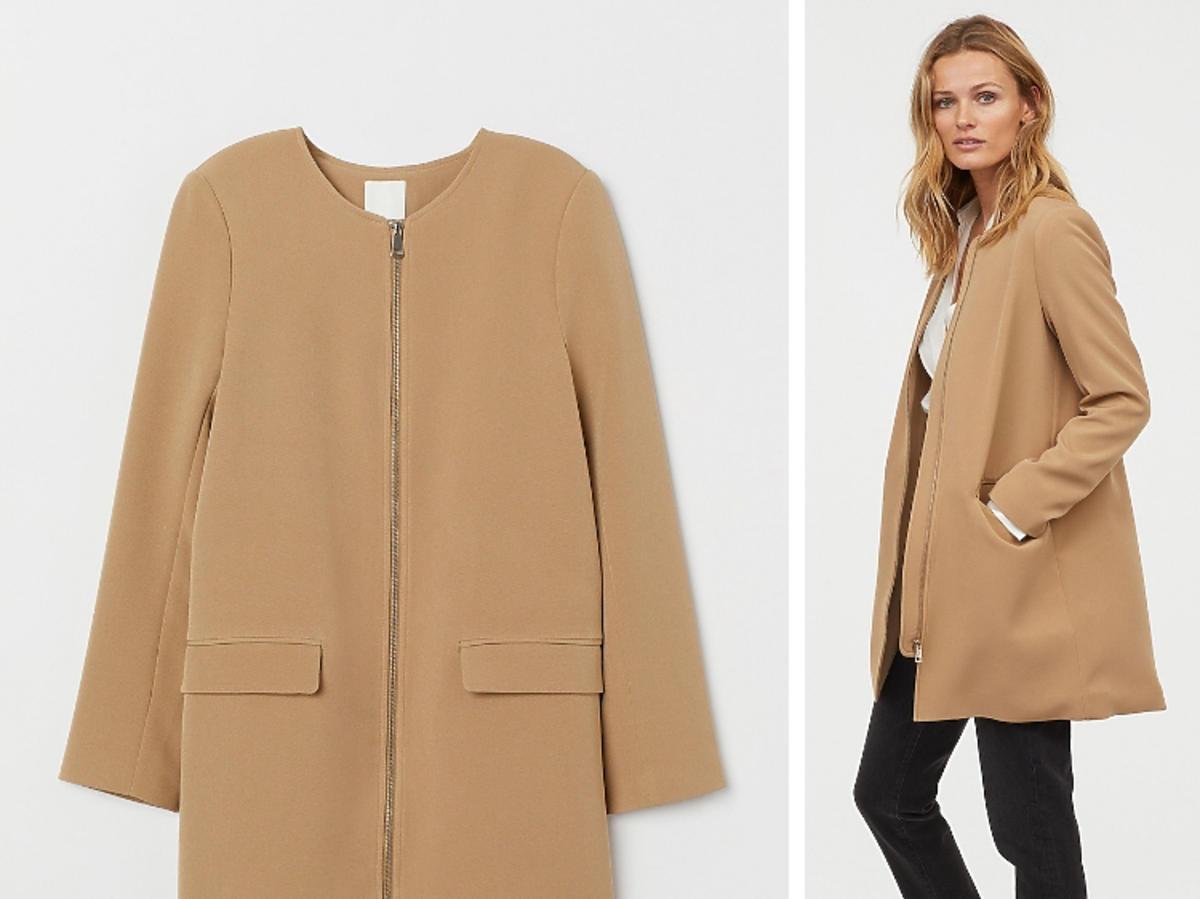 kamelowy płaszcz H&M