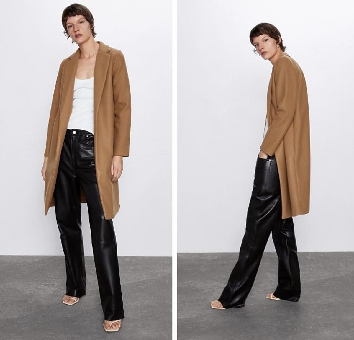 kamelowy płaszcz Zara