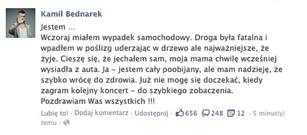 Kamil Bednarek oświadczenie