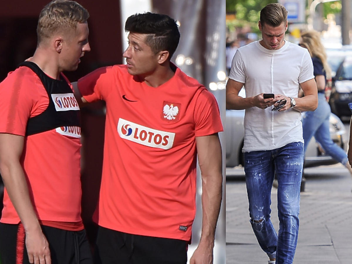 Kamil Glik i Robert Lewandowski na treningu