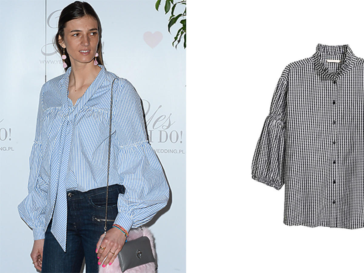 Kamila Szczawińska w niebieskiej koszuli z bufkami