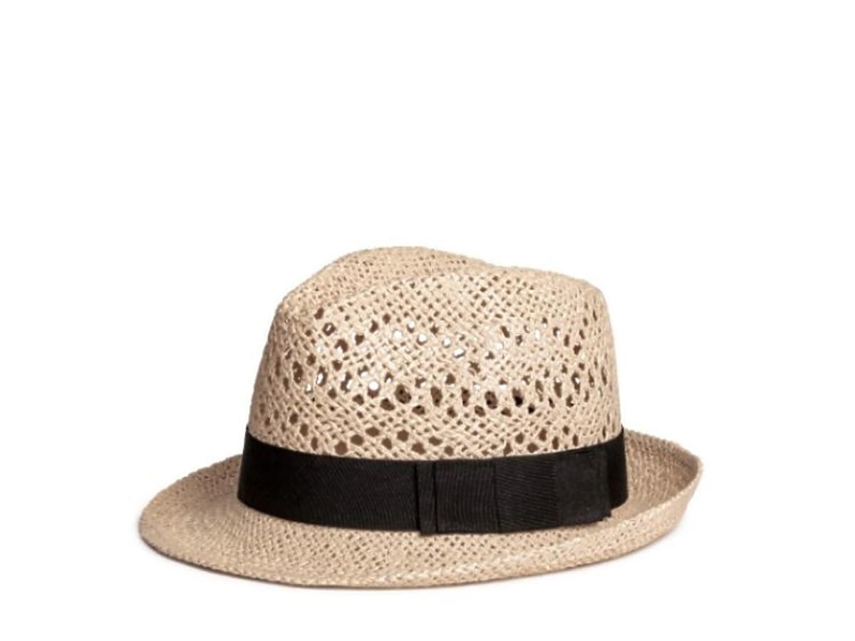kapelusz słomkowy z  czarną wstążką H&M