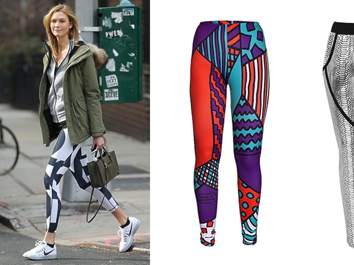 Karlie Kloss, legginsy w kolorowe wzory