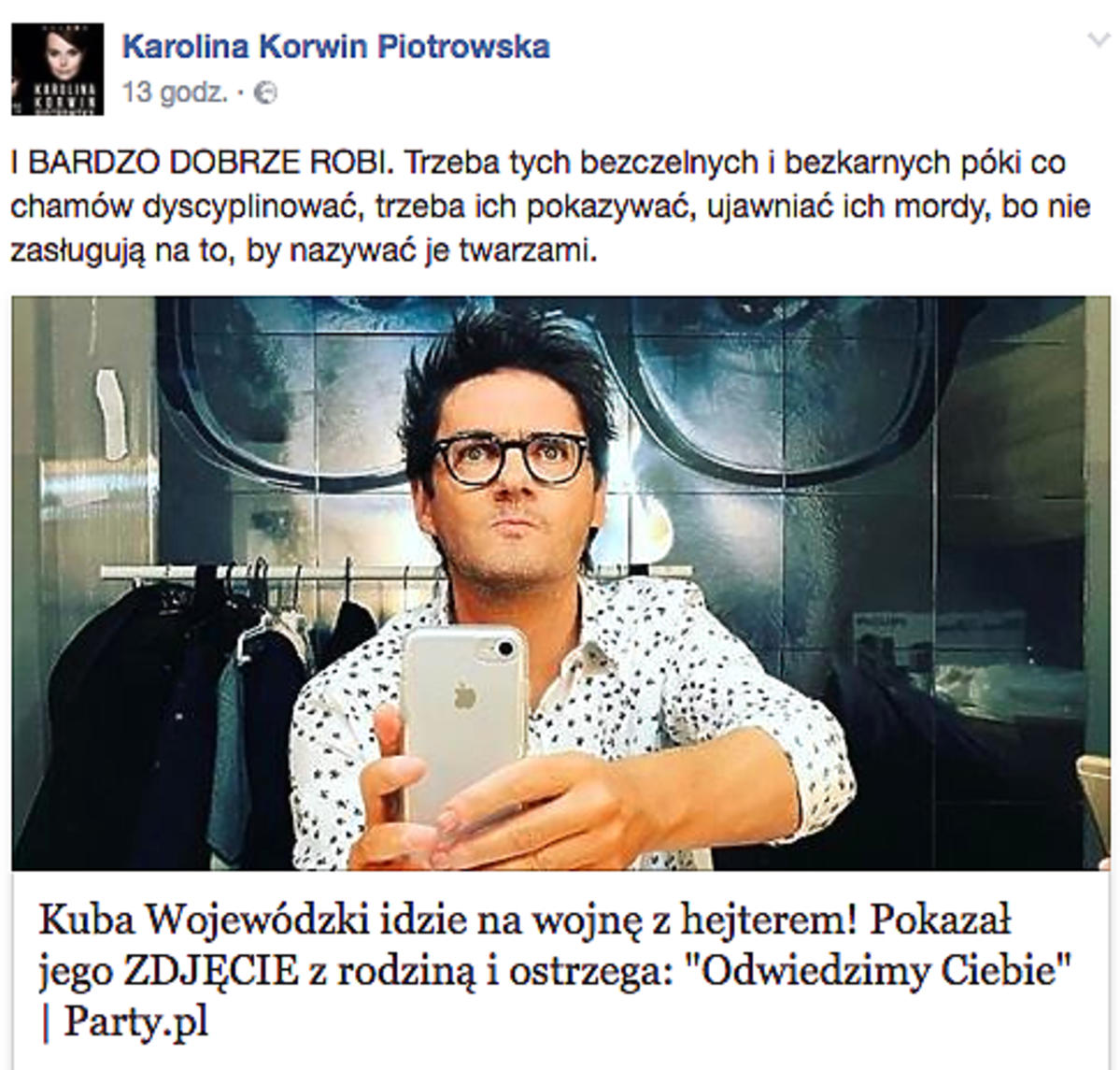 Karolina Korwin Piotrowska broni Kuby Wojewódzkiego