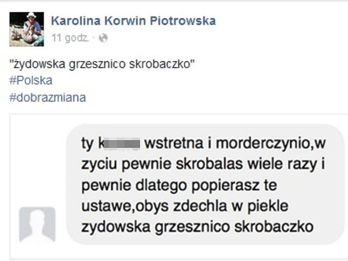 Karolina Korwin Piotrowska dostała taką wiadomość na Facebooku