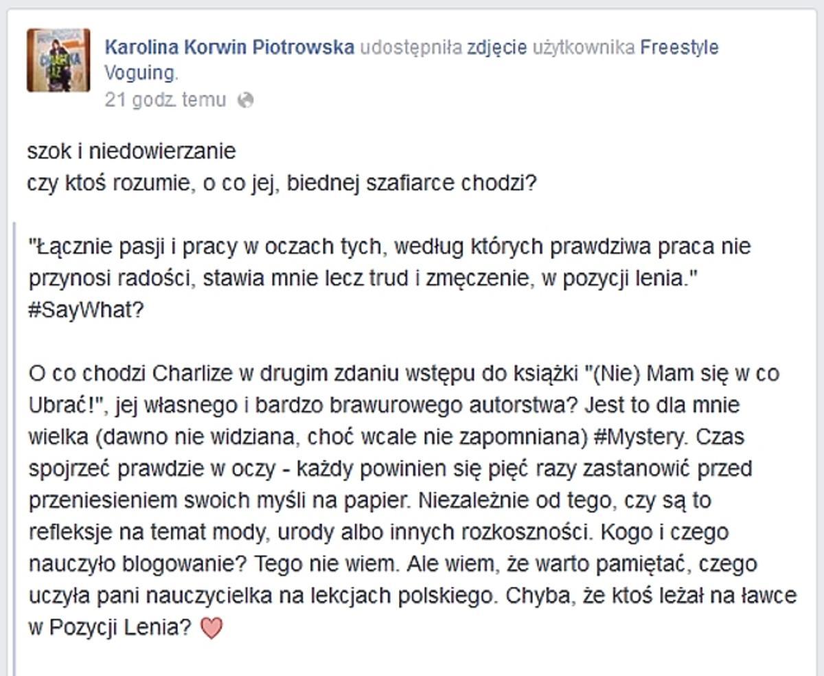 Karolina Korwin Piotrowska o książce Charlize Mystery
