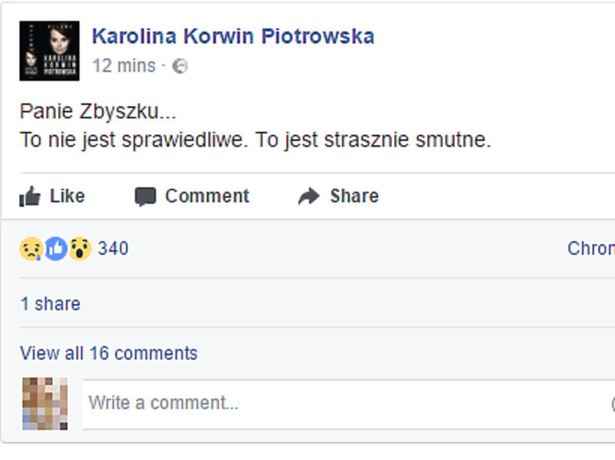 Karolina Korwin Piotrowska żegna Zbigniewa Wodeckiego