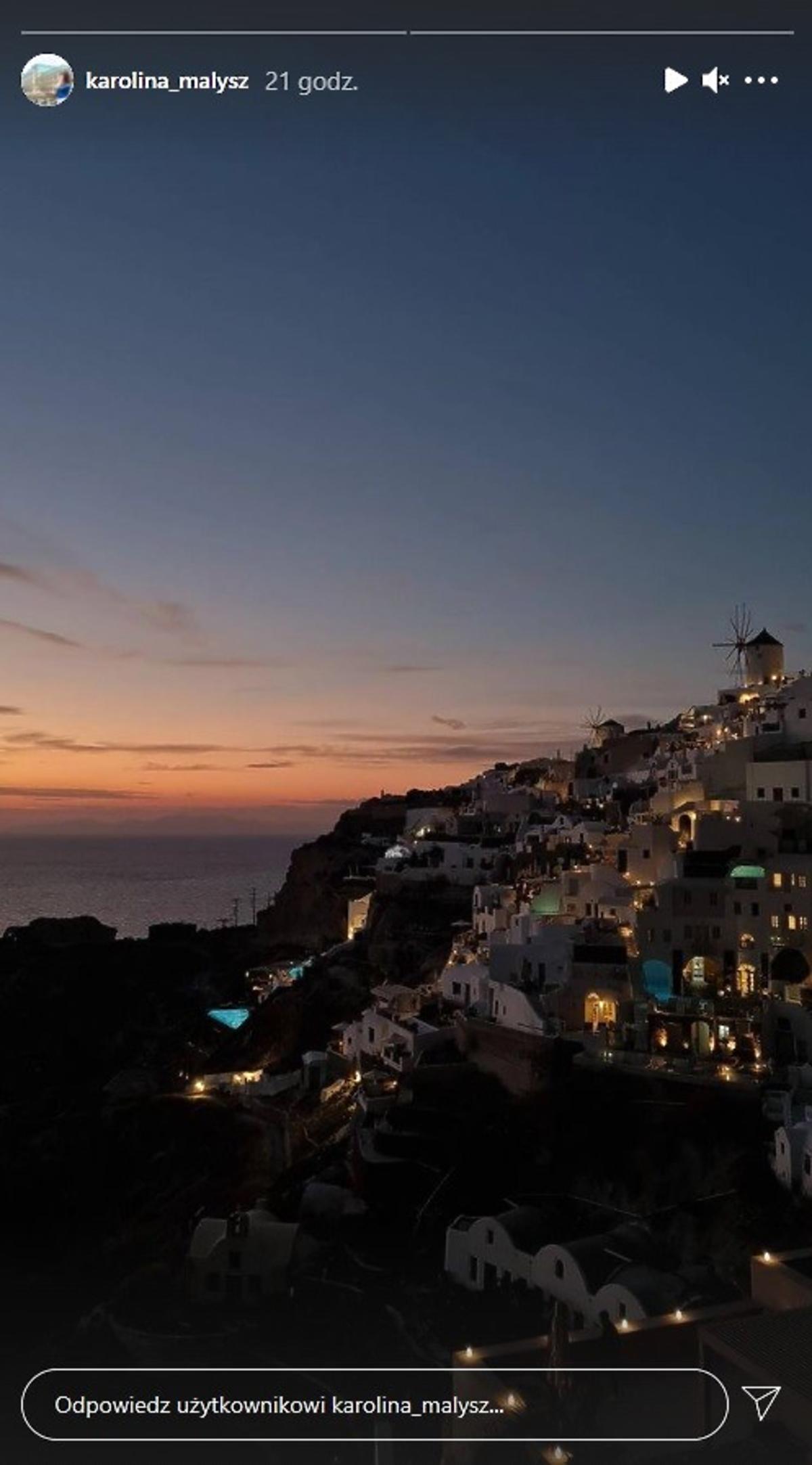 Karolina Małysz w podróży poślubnej na Santorini
