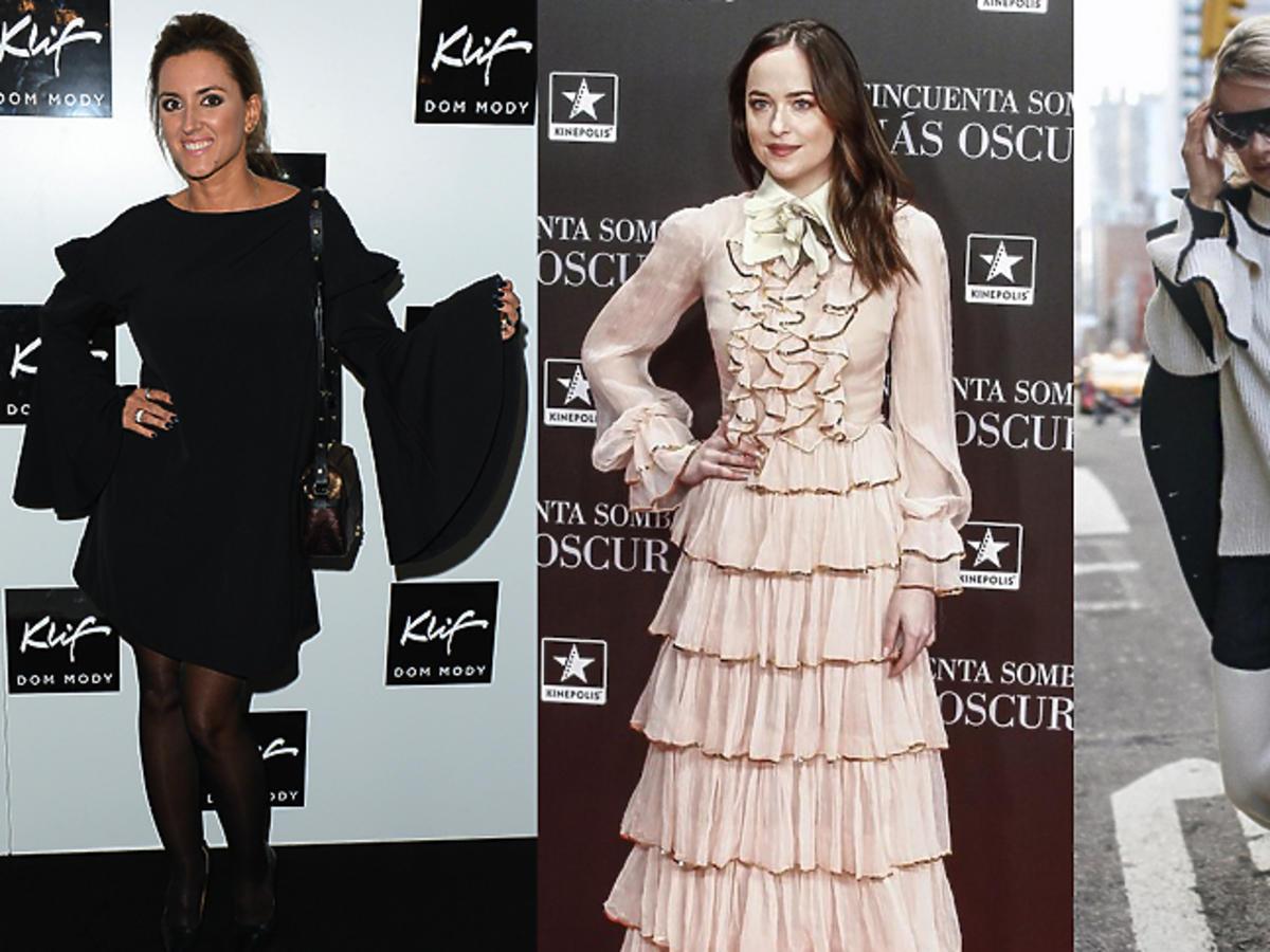 Karolina Szostak, Dakota Johnson, Maffashion w ubraniach z rozszerzanymi rękawami Zara Reserved H&M Mohito