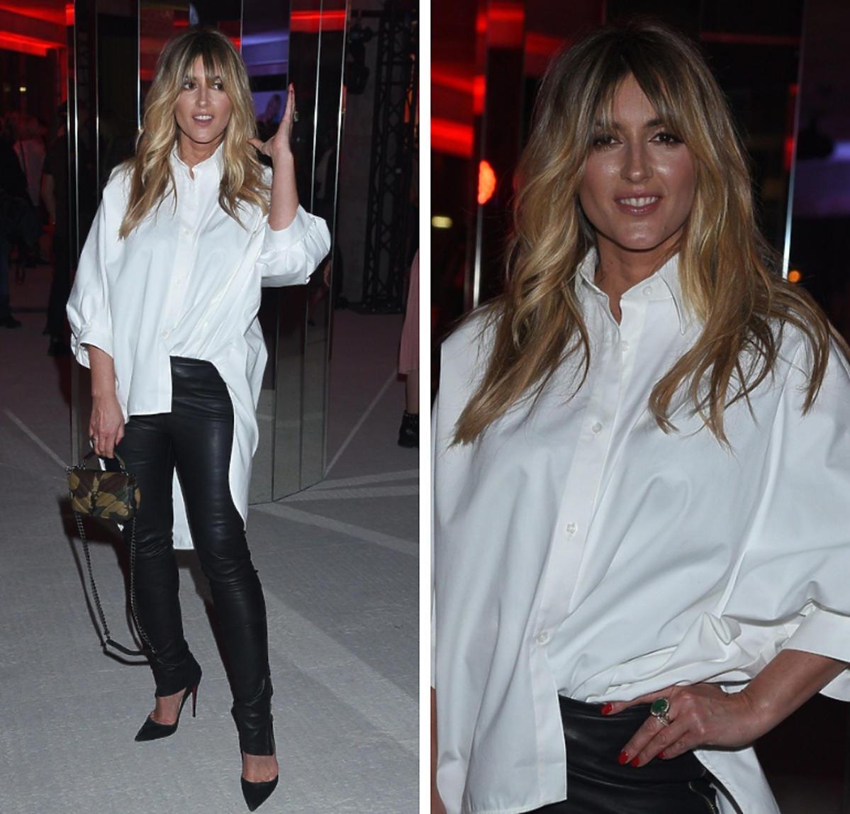 Karolina Szostak w białej koszuli na pokazie Thecadess
