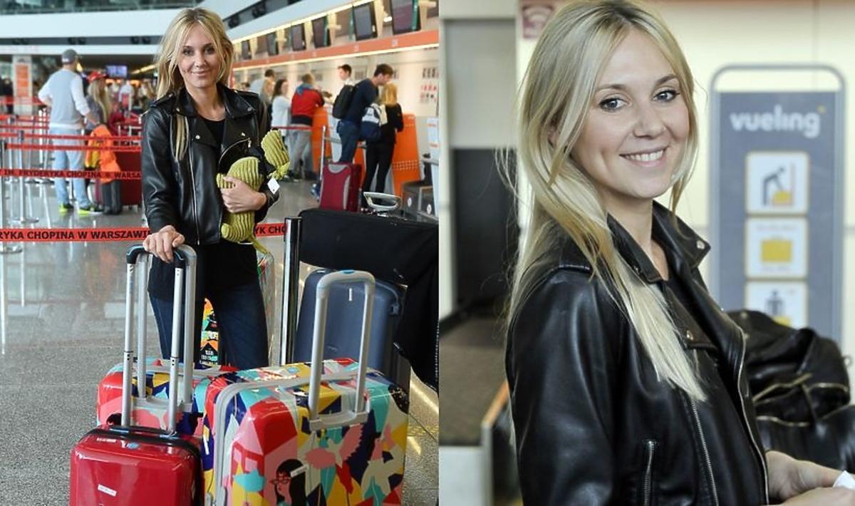 Kasia Moś na lotnisku