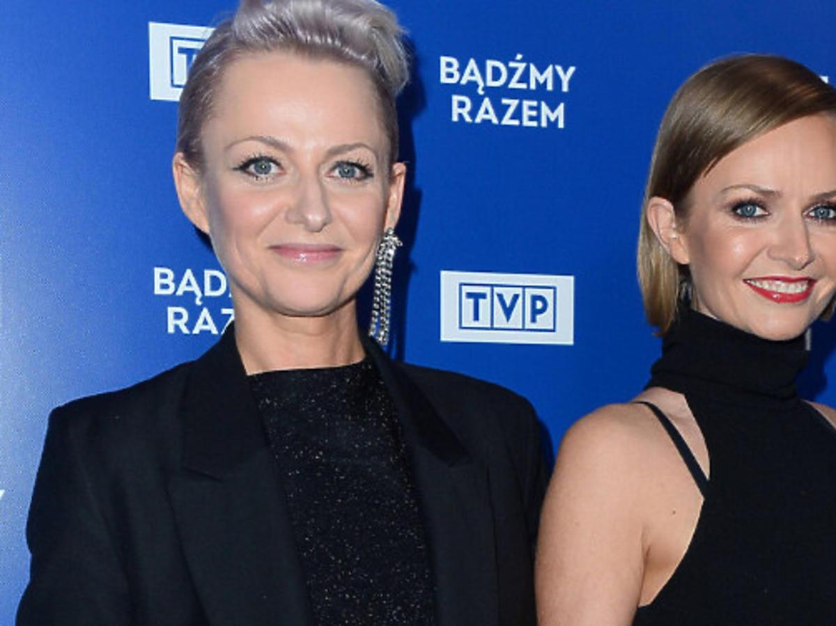 Kasia Stankiewicz z siostrą na prezentacji wiosennej ramówki TVP