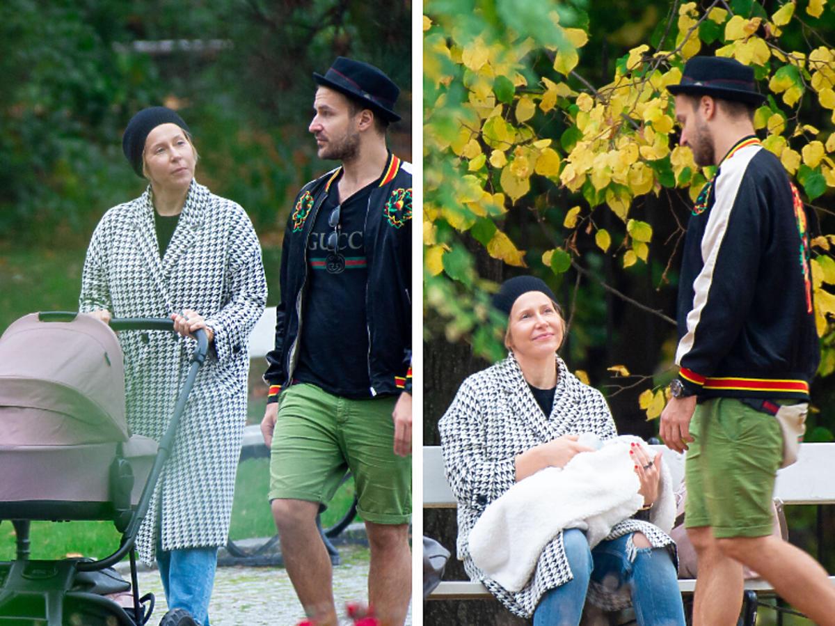 Kasia Warnke i Piotr Stramowski na spacerze w parku
