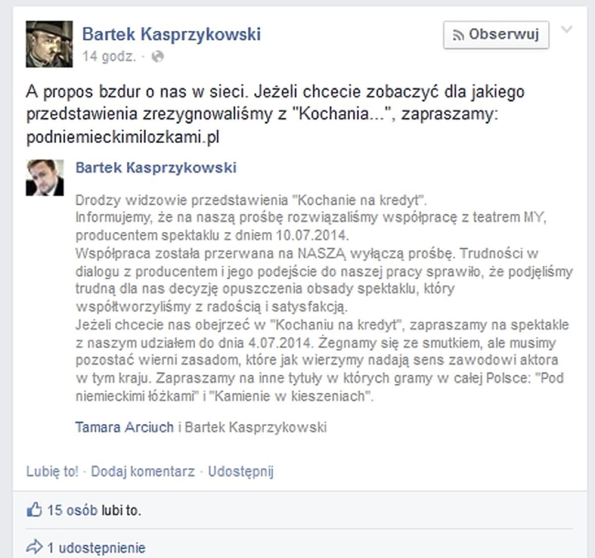 Kasprzykowski o wyrzuceniu z teatru