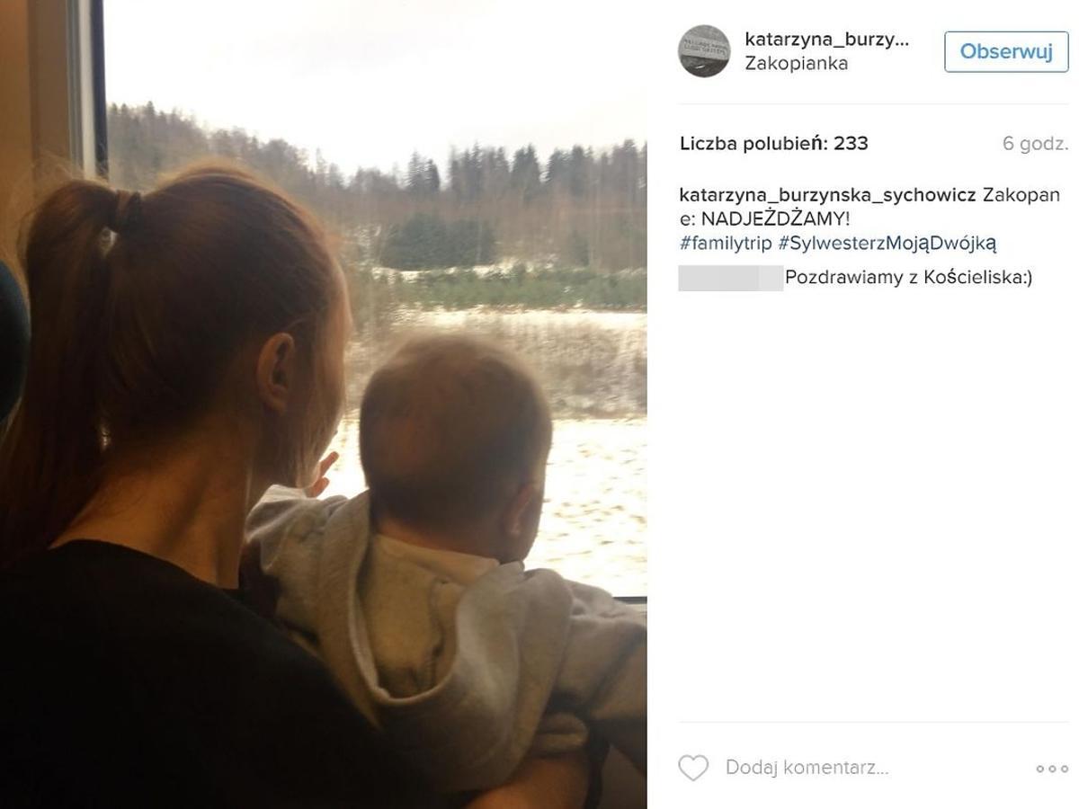 Katarzyna Burzyńska z synem w górach