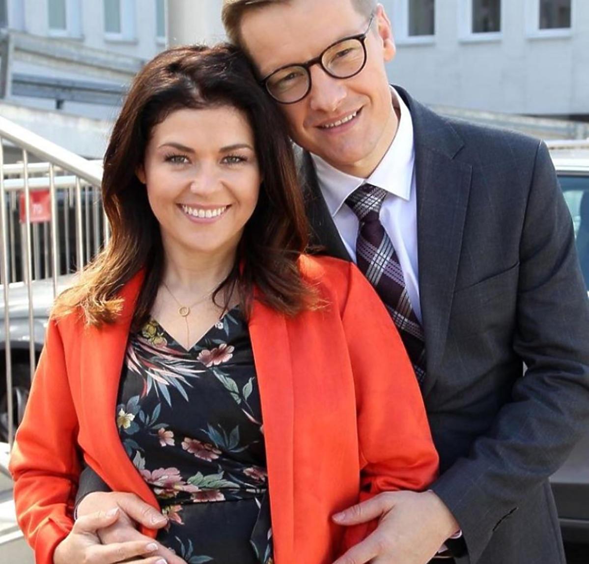 Katarzyna Cichopek i Marcin Mroczek na planie