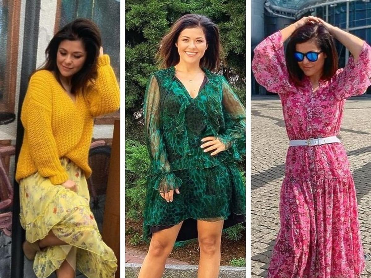 Katarzyna Cichopek pozuje w kolorowych sukienkach
