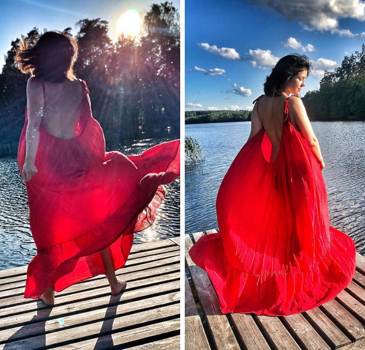 Katarzyna Cichopek w czerwonej sukience LilaLou