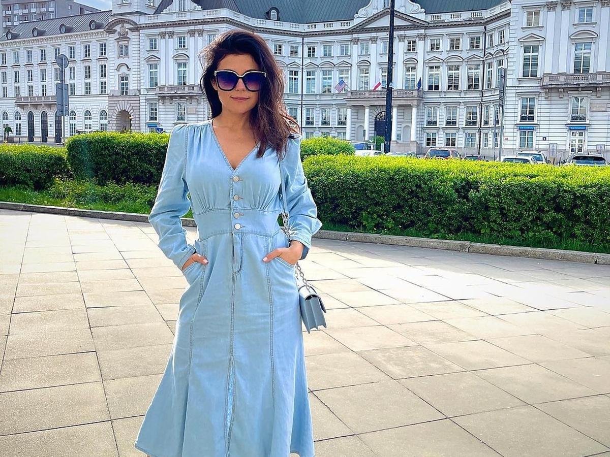 Katarzyna Cichopek w jeansowej sukience