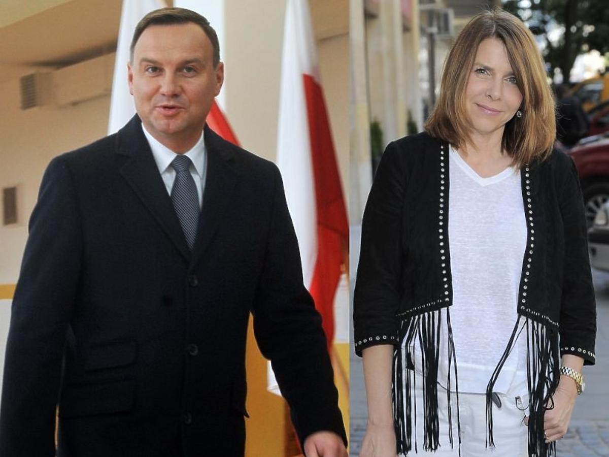 Katarzyna Kolenda-Zaleska w białem bluzce i czarnym żakiecie, Andrzej Duda w garniturze głosuje w wyborach