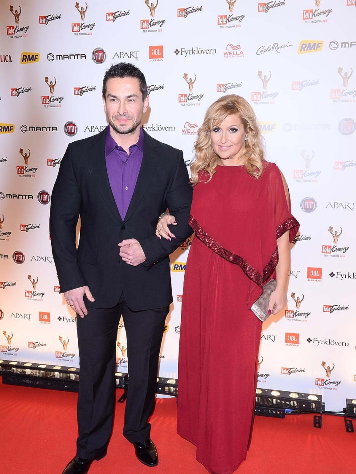 Katarzyna Skrzynecka z mężem na rozdaniu Telekamer 2018