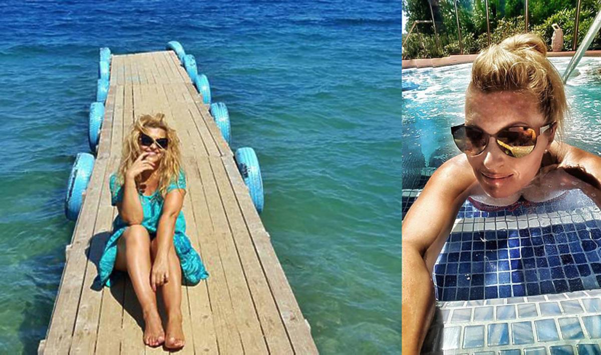 Katarzyna Skrzynecka z rodziną na wakacjach w Grecji