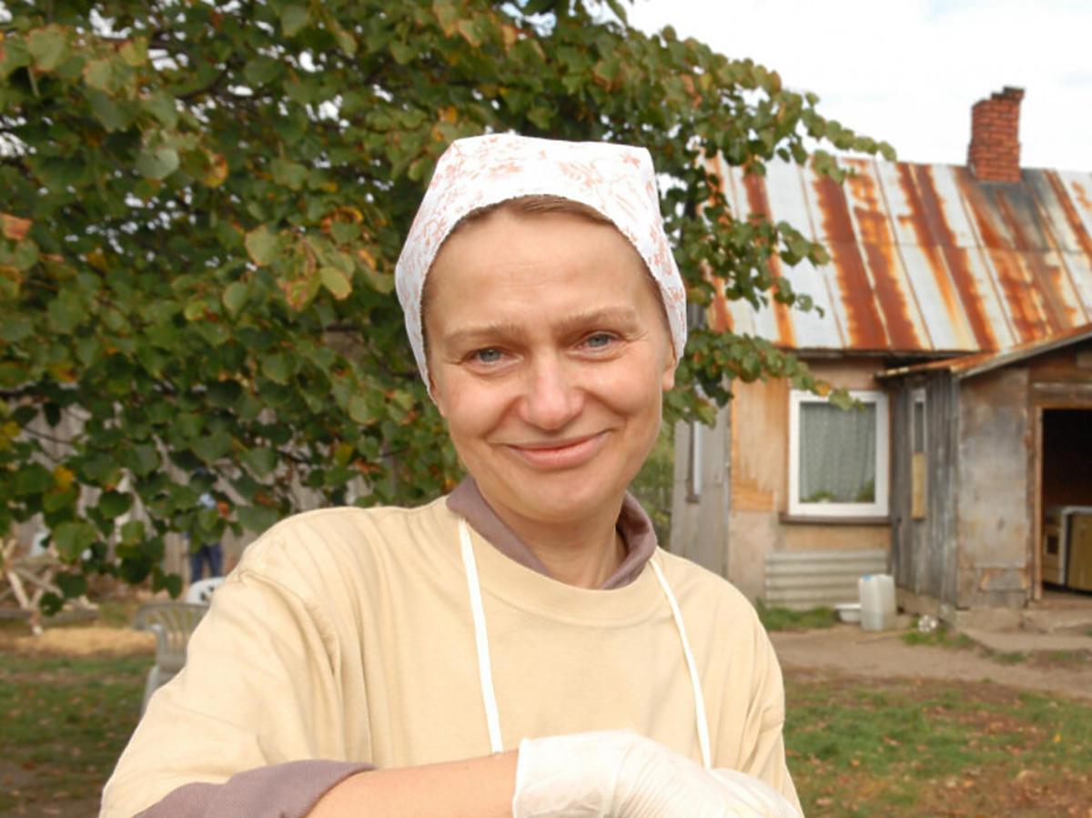Katarzyna Żak na planie serialu Ranczo