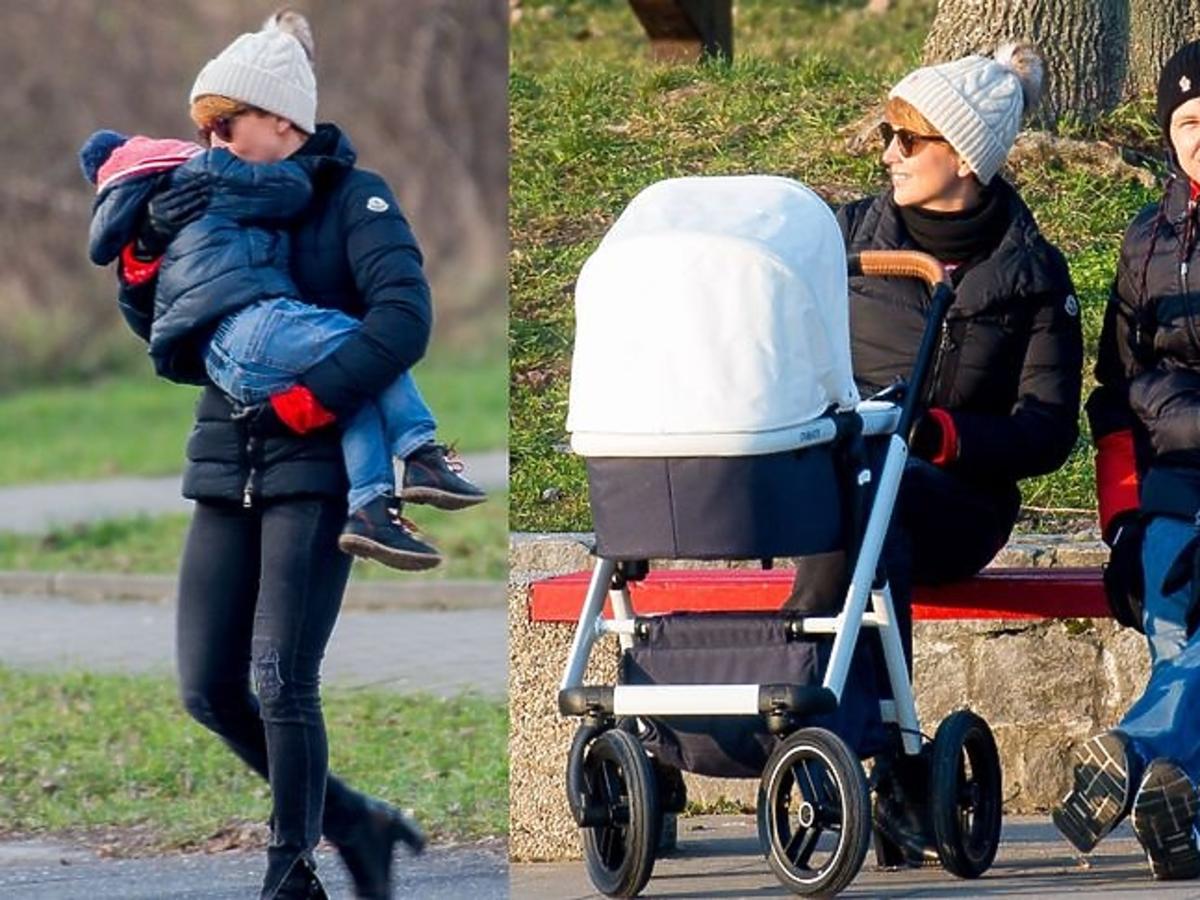 Katarzyna Zielińska z rodziną na spacerze