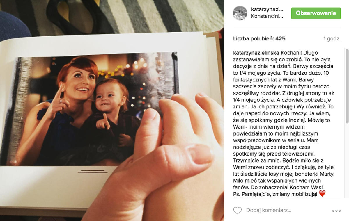 Katarzyna Zielińska żegna się z fanami Barw Szczęścia