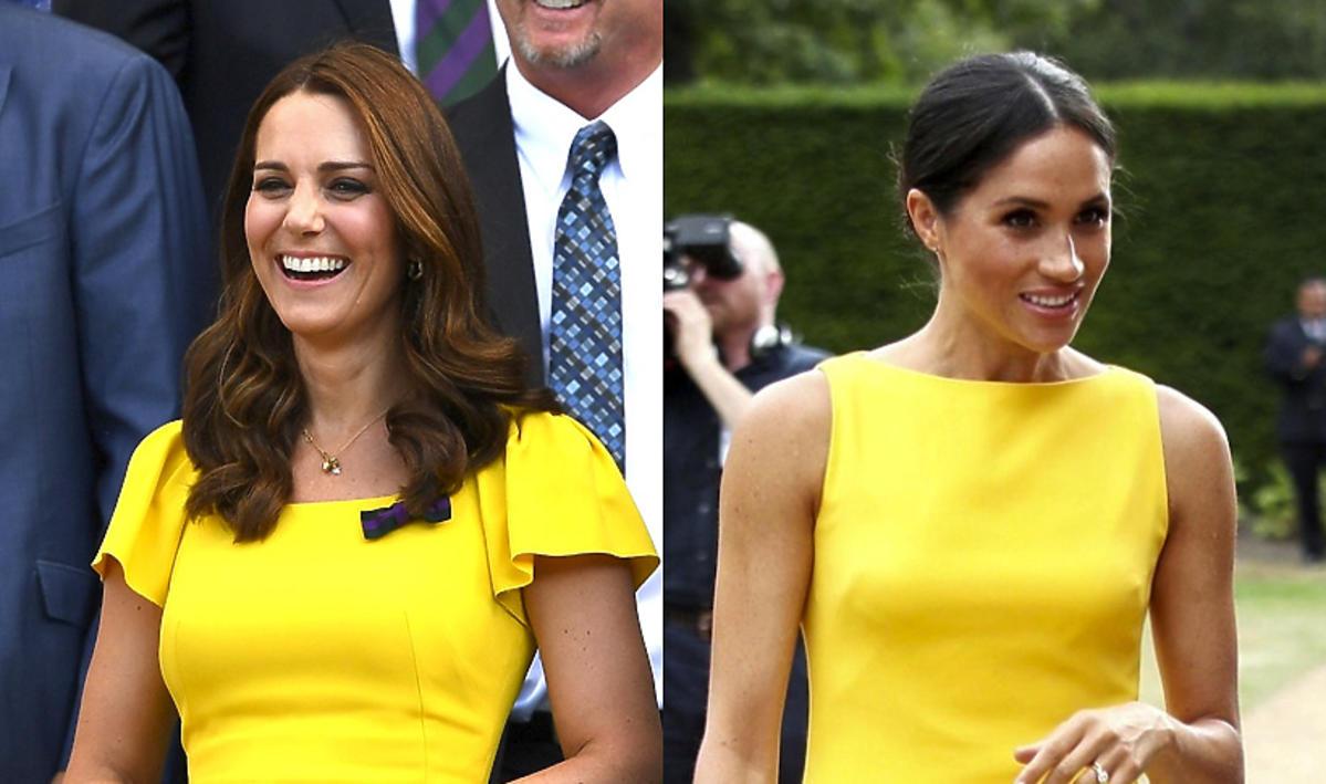 Kate i Meghan w żółtych sukienkach