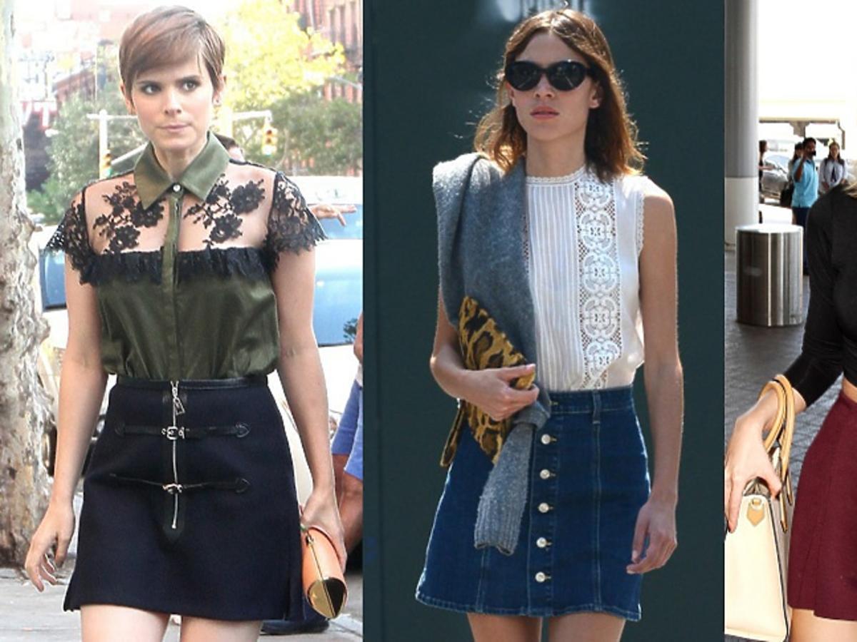 Kate Mara, Alexa Chung, Taylor Swift w spódnicach trapezowych