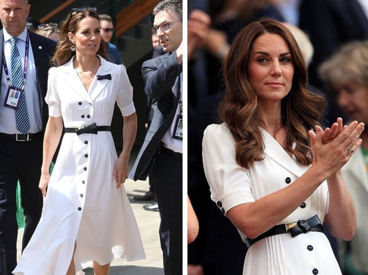 Kate Midletton wbiałej sukience na Wimbledon 2019