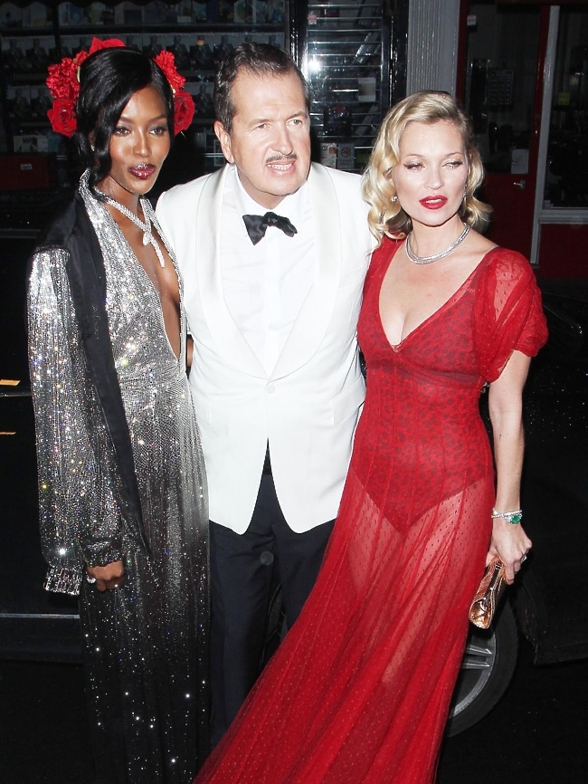 Kate Moss i Naomi Campbell na urodzinach Mario Testino w Londynie
