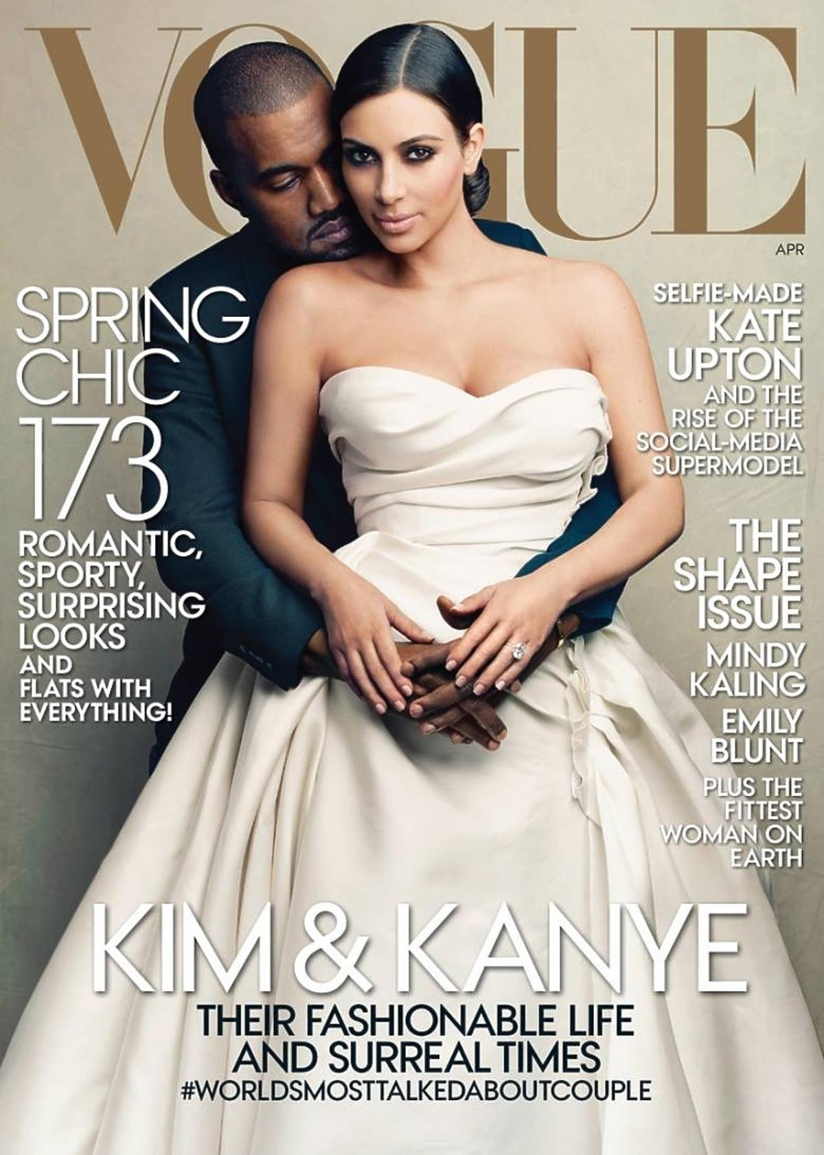 Kim Kardashian i Kanye West na okładce Vogue
