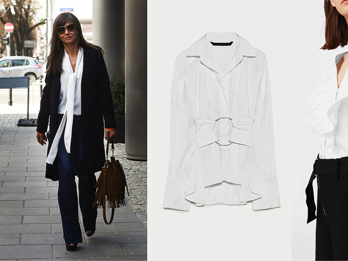 Kinga Rusin, białe koszule - bluzki z bufkami, falbanami, szerokimi rękawami Zara H&M Mango