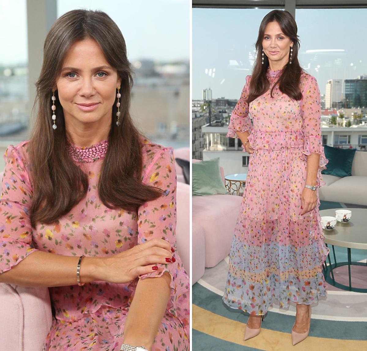 Kinga Rusin w Dzień Dobry TVN w różowej sukience