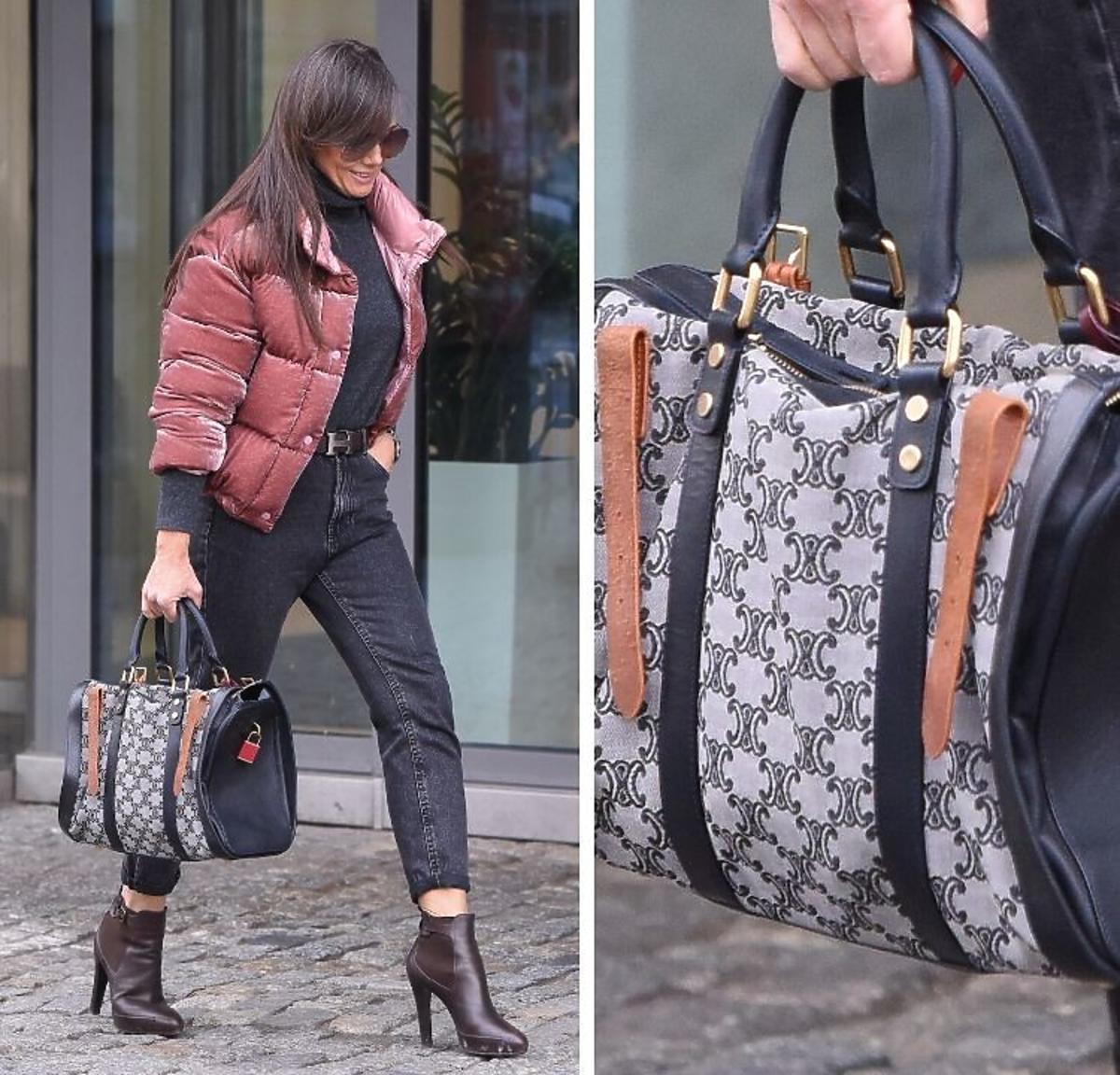Kinga Rusin w różowej bomberce z luksusową torebką