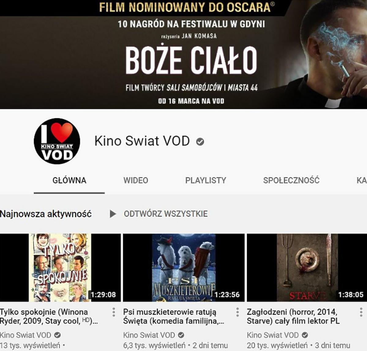 Kino Świat na Youtube.com